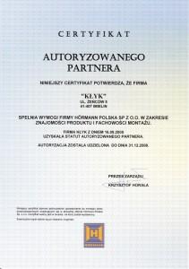Certyfikat autoruzowanego partnera