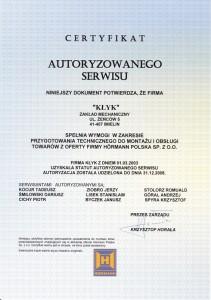 Certyfikat autoryzowanego serwisu