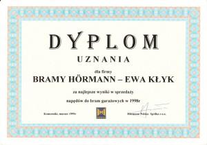 Dyplom uznania Hormann